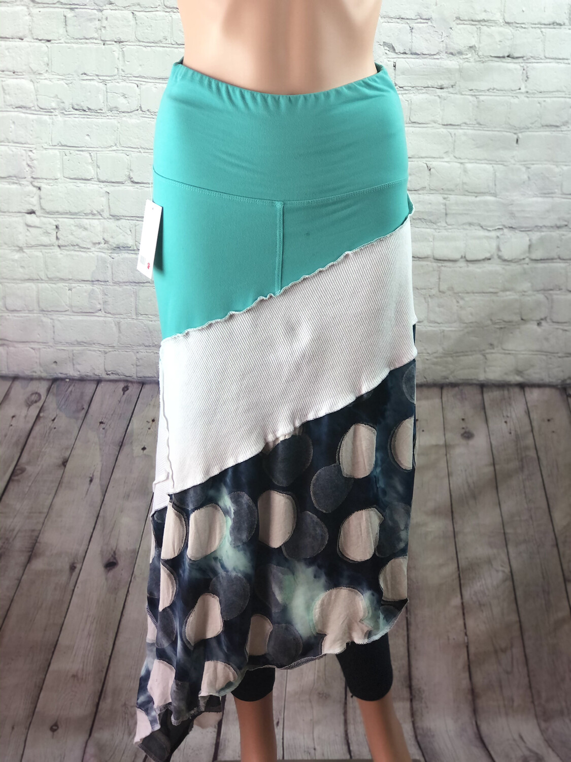 S Threads Upcycled One Size Spandex Band Teal Blue White Dot Asymmetrical Skirt