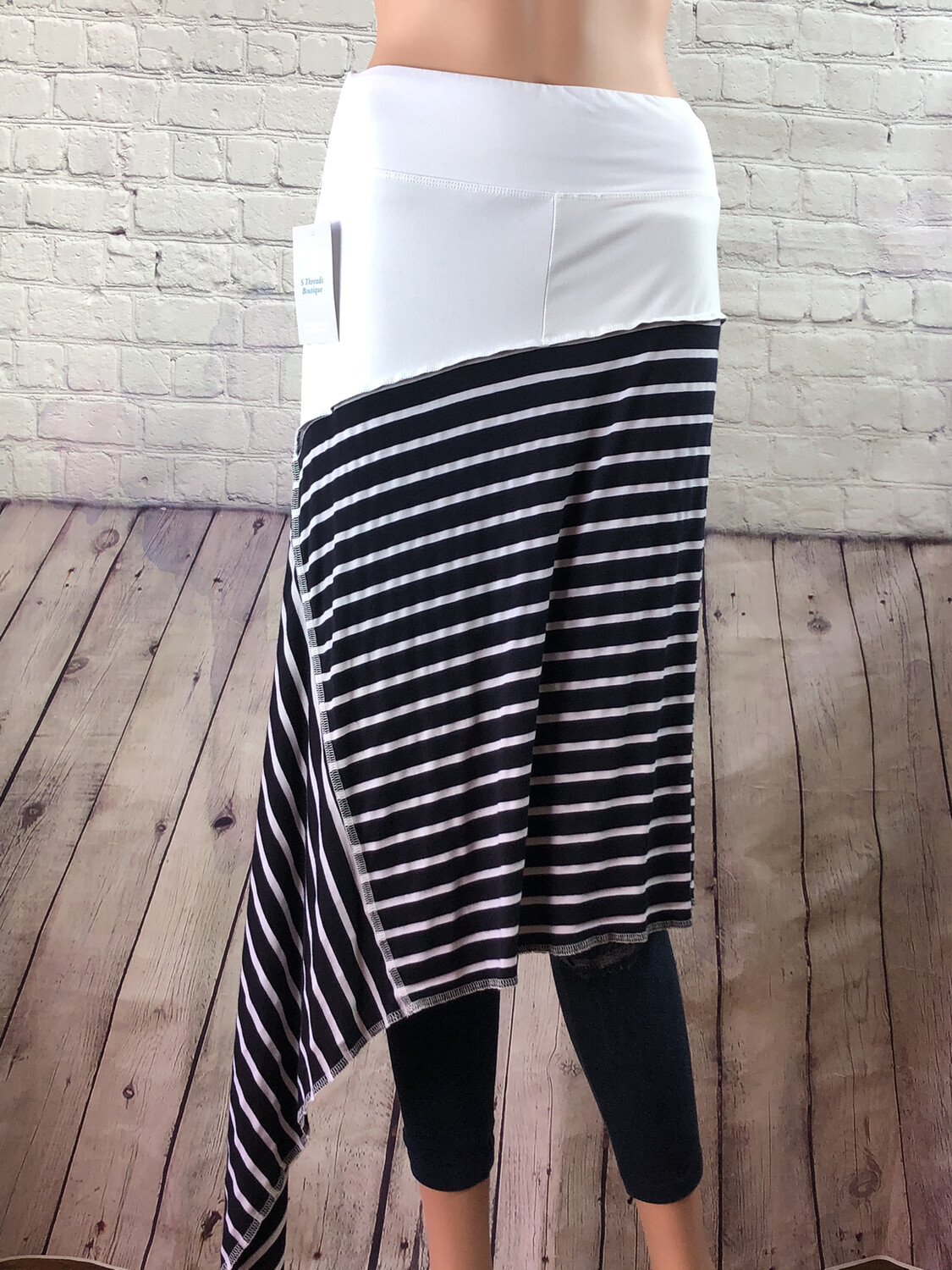 S Threads Upcycled One Size Spandex Band Navy and White Striped Asymmetrical Skirt