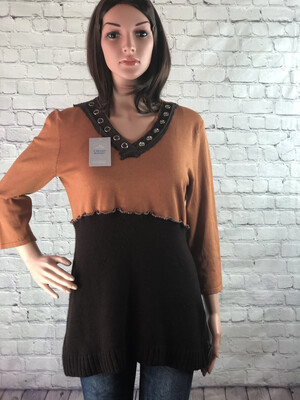 S Threads Upcycled OOAK Rustic Boho Sweater Fall Colors Size Large