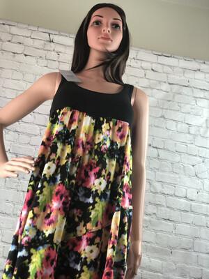 S Threads Boutique Tank Dress Floral Print Flare Skirt Long Beach Dress OOAK Size M
