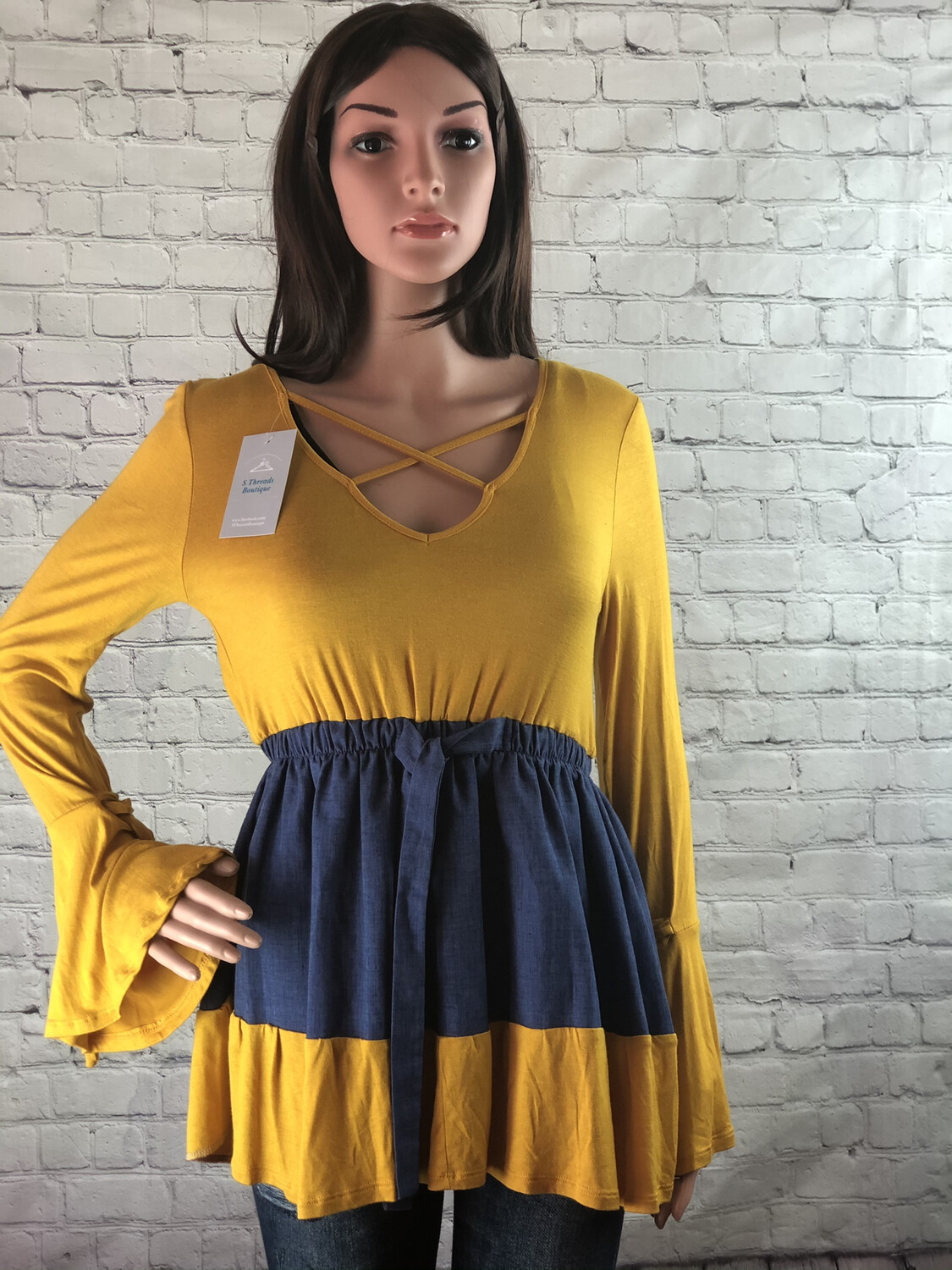 S Threads Upcycled Bell Sleeve Jean Lattice Top Size S