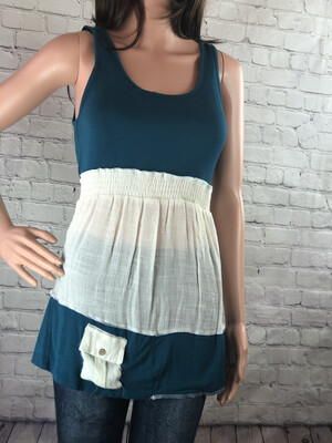 S Threads Upcycled Teal Tank Top Transparent Linen w Pocket Recycled Wearable Art Size M