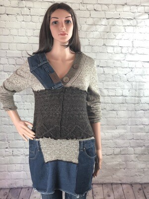 S Threads Upcycle Button Sweater Eco Friendly Boho Rethread SThreads Blended Fashion Top Jean Pockets Size L