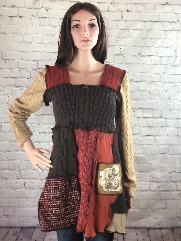 Zipper Sweater Reinvented Sustainable Eco Fashion Renaissance Boho Wearable Art Steampunk Orange Brown Rustic OOAK Size M