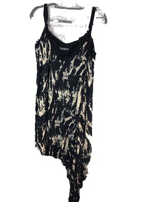 S Threads Upcycled Refashioned Tank Top Stretch Knit Asymmetrical Point Hem Black Print size 2XL
