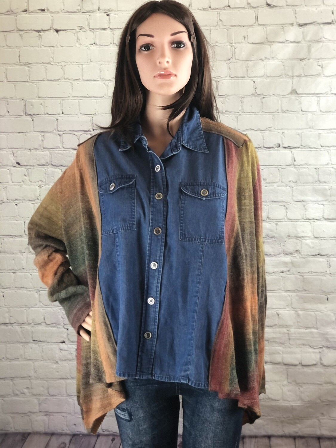Rustic Jean Button Up Slouch Sweater Jacket Loose Fit Batwing Sleeve Patchwork S Threads Boutique Sustainable Fashion Size L