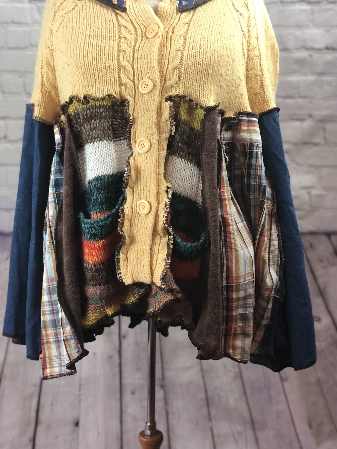Upcycled Katwise Inspired Mixed Material S Threads Button Up Cardigan Sweater Leaves Rustic Colorful OOAK size 2XL