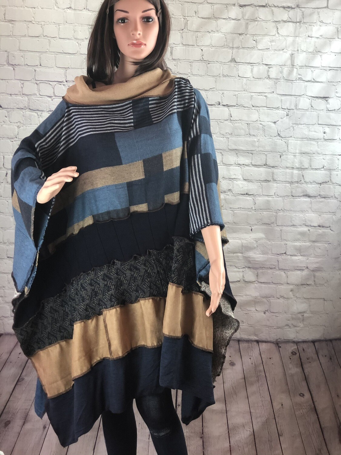 Navy Blue Sweater Suede Poncho Sustainable Fashion Mixed Material Ruffle Hem OOAK One Size Fit Comfy S Threads Boutique Design