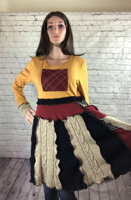 S Threads Upcycled Sweater Dress Fairy Pocket Burgundy Navy Long Sleeve Sustainable Size M