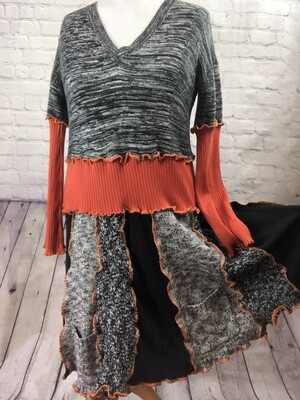 Recycled Black Sweater Dress Ruffle Orange Trim Katwise Inspired Stretch Knit Sustainable S Threads Fashion OOAK Size 2XL