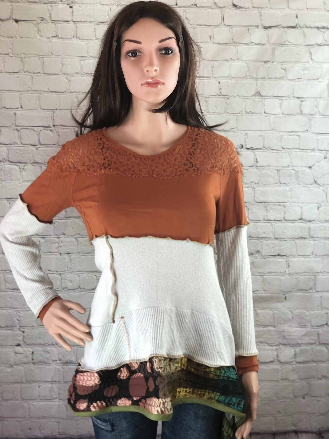S Threads Boutique Sustainable Fashion Unique A-line Sweater Lace Sheer Scarf Knit Top Boho OOAK Size Small