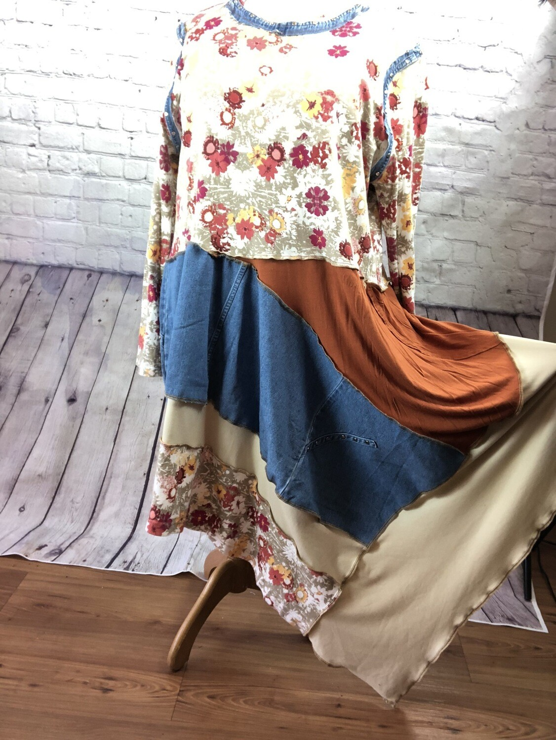 S Threads Boutique Recycled Tunic OOAK Jean Knit Layered Patchwork Overlock Upcycled Sustainable Fashion Dress size 4X
