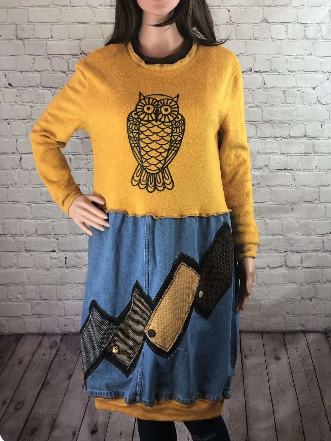 Fuzzy Owl Jean Dress Patchwork Recycled Free Spirited Cozy Sweater Trendy Sustainable S Threads Fashion Size L