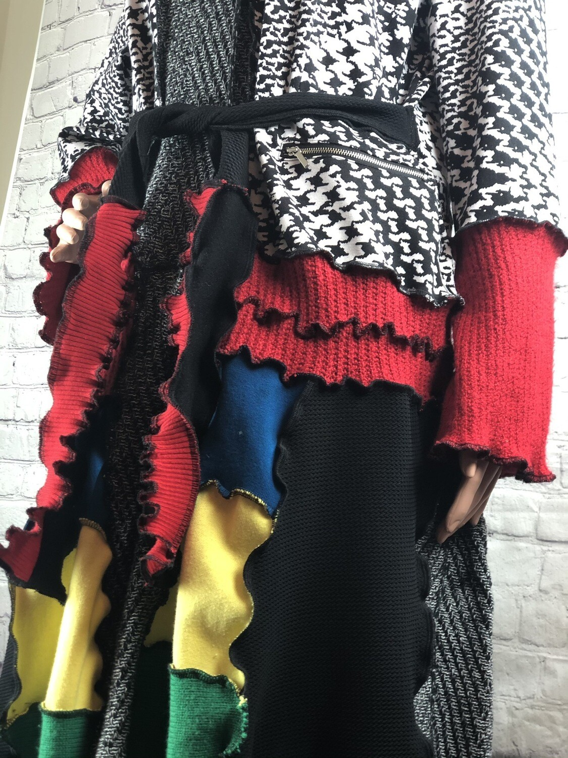 Upcycled Recycled Colorful Sweater Coat S Threads w Buttons at Top and Tie Waist size 2XL