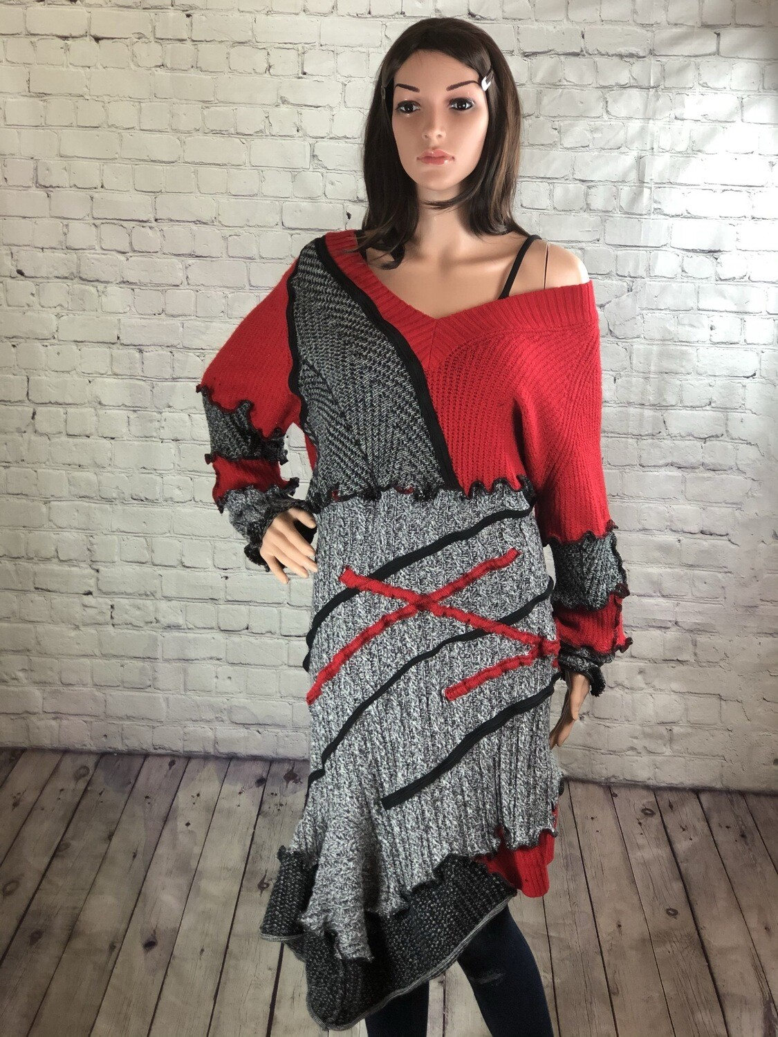 Eco friendly Recycled Sweater Dress Artsy Attractive Asymmetrical Ruffle Hem Fashionable Comfortable Dressy Casual Handmade Size XL