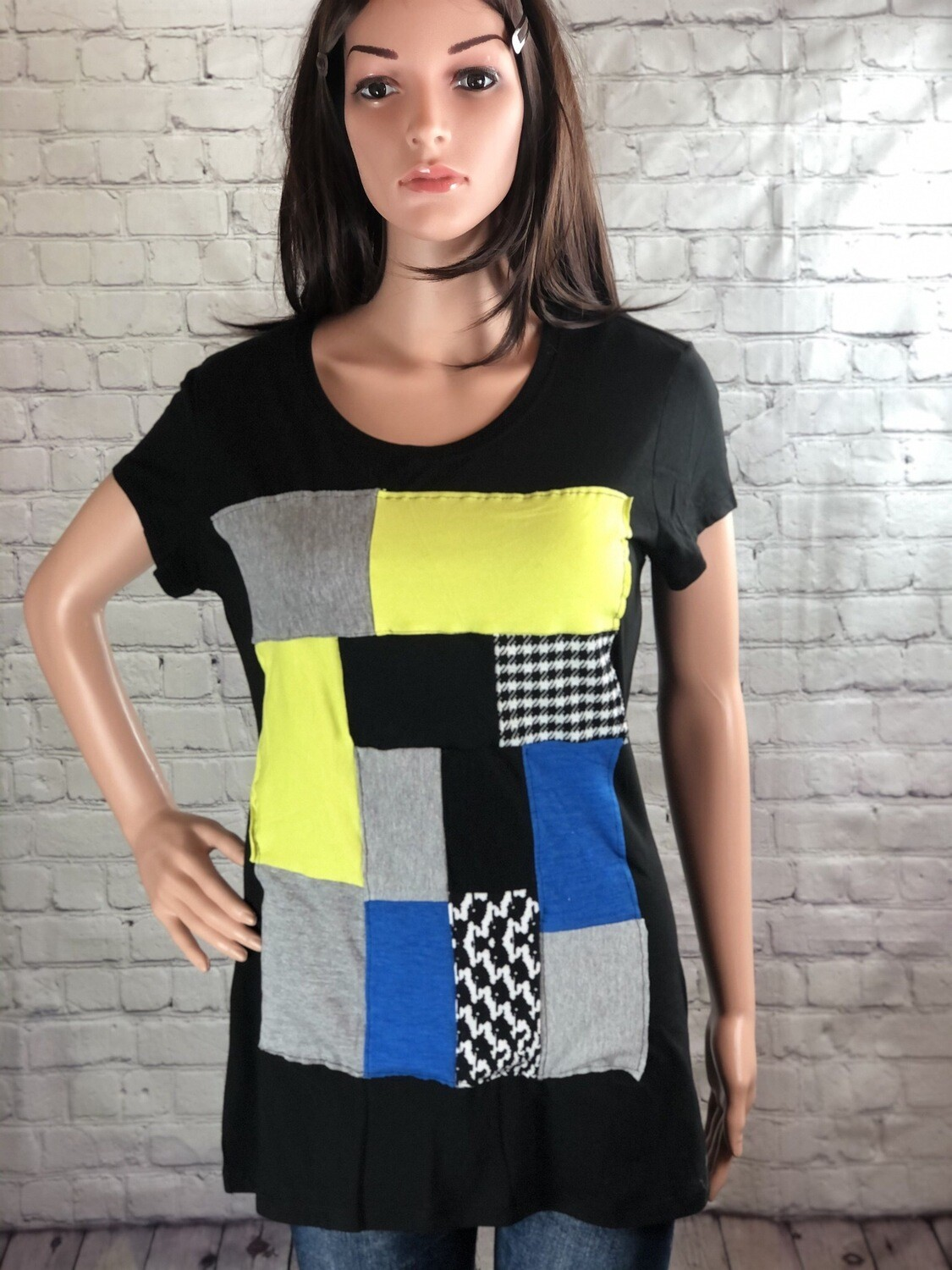 S Threads Patchwork Recycled Tshirt Colorblock Recreated Upcycled Fabric Comfy Tee Size L