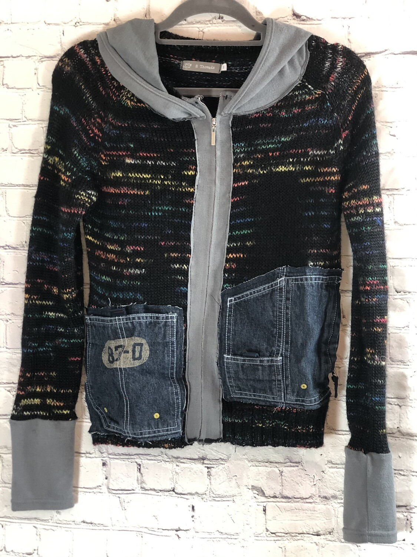 Unisex Gender Neutral Hoodie Sweater Pullover Zipper Recycled Rethread Eco Fashion Comfort Wear size Medium