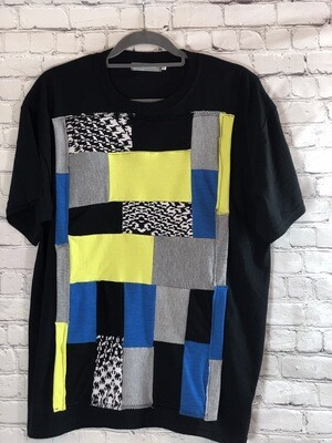 S Threads Patchwork Recycled Unisex Tshirt Colorblock Recreated Upcycled Fabric Unisex Top Men's Size Large