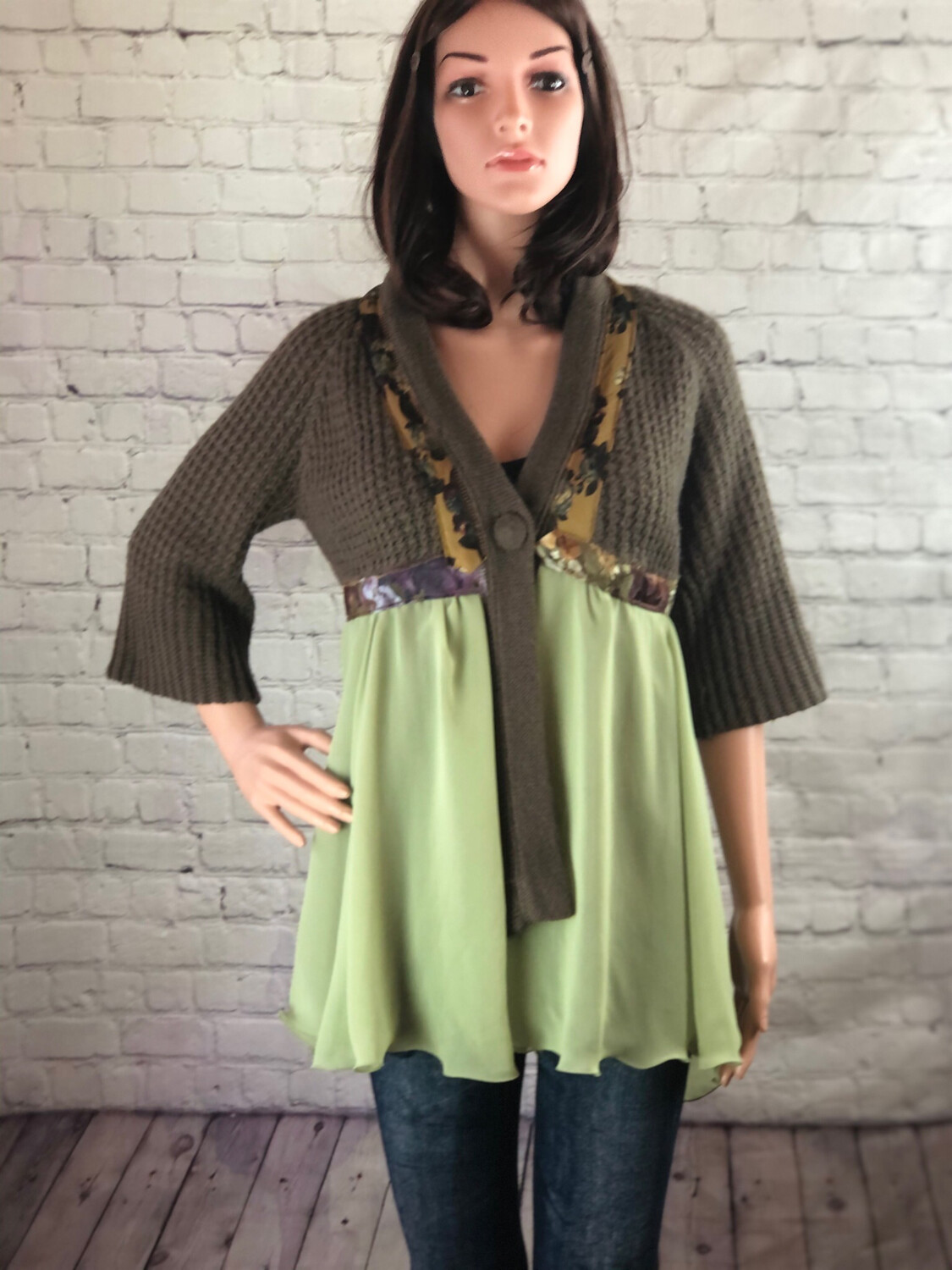 Upcycled Recycled Eco Friendly S Threads Cardigan Sweater Sustainable Fashion Size M / L