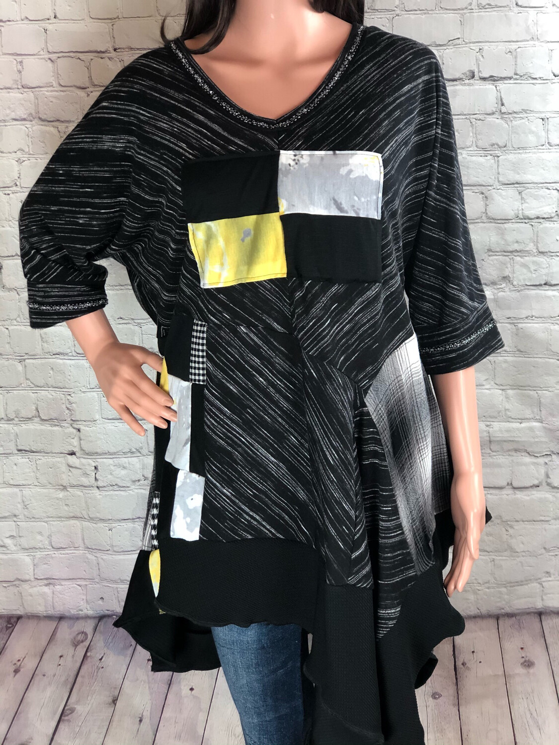 Eco Fashion S Threads Upcycled Tunic Comfy Lagenlook Patchwork Colorblock Wearable Art Top 2XL