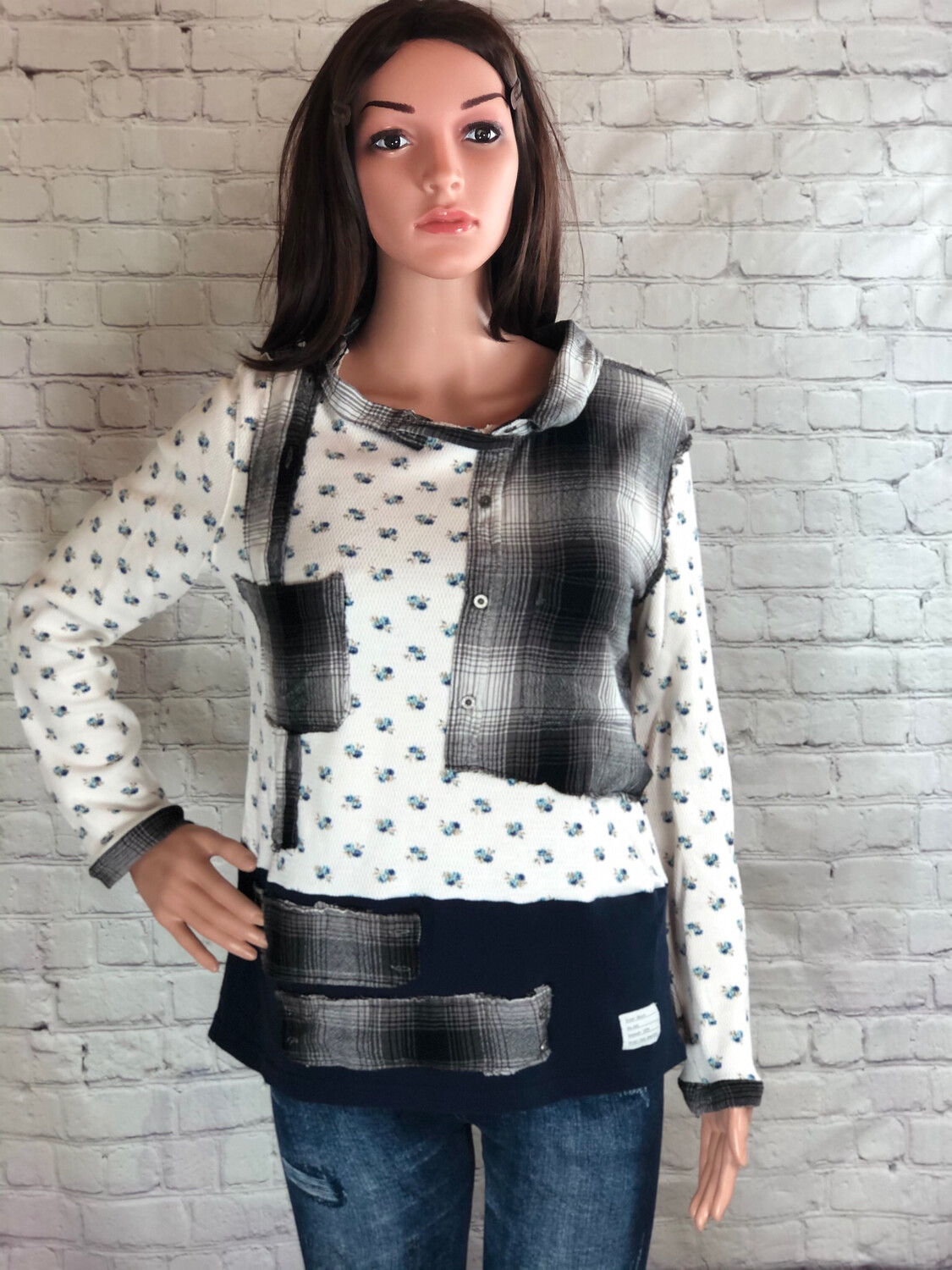 S Threads Upcycled Top Thermal Flannel Eco Friendly OOAK Streetwear Wearable Art Size L
