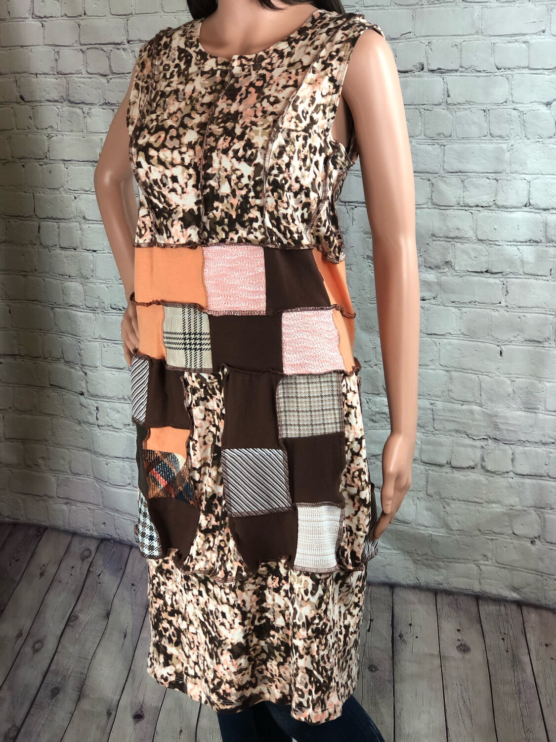 One of a Kind Patchwork Colorblock Recycled Wearable Art Sustainable Fashion Size M