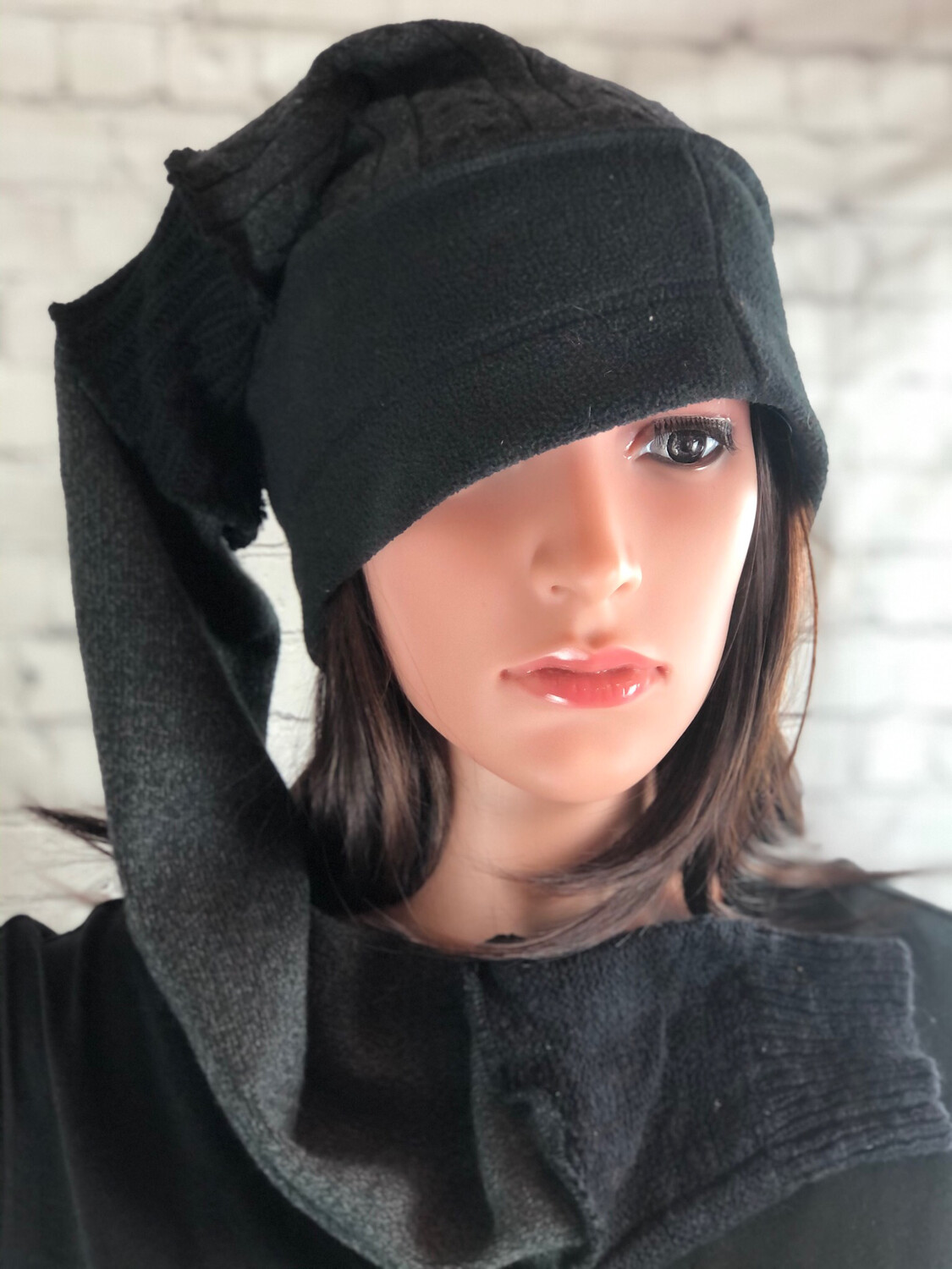 S Threads Upcycled Fleece And Sweater Mashup Fairy Point Long Hat #2