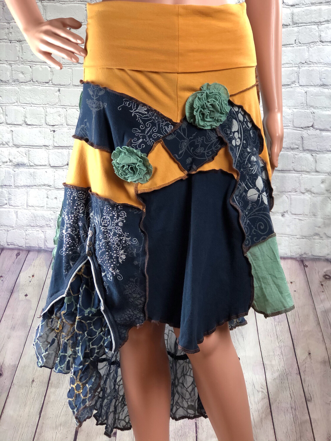 Gold Yellow Blue Sustainable Fashion Floral Flare Skirt Velvet, Cotton Comfort Yoga Stretch Band Upcycled OoAK Eco Wear size M / L