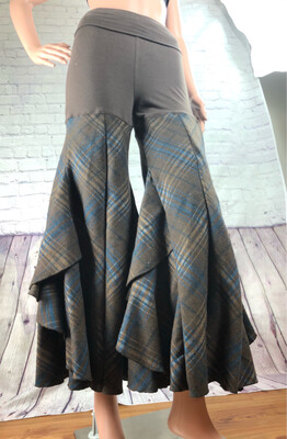 Upcycled Palazzo Pants Fold Down Yoga Waistband Stretch Fit Plaid Brown S Threads Size S / M / L