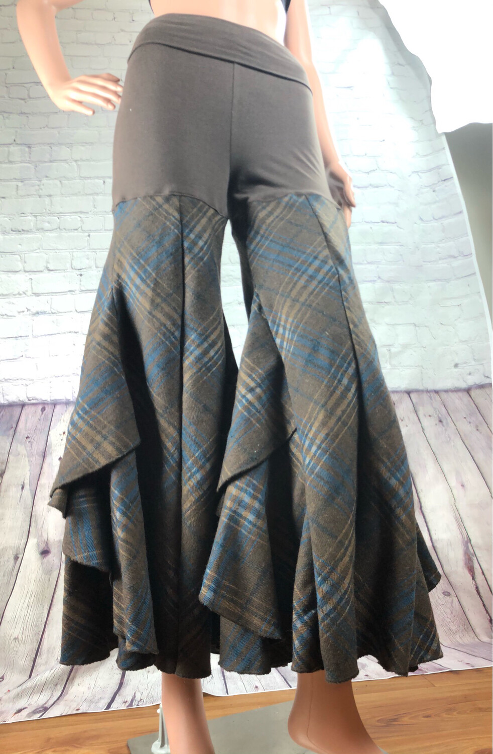 Upcycled Palazzo Pants Fold Down Yoga Waistband Stretch Fit Plaid Brown S Threads Size S / M