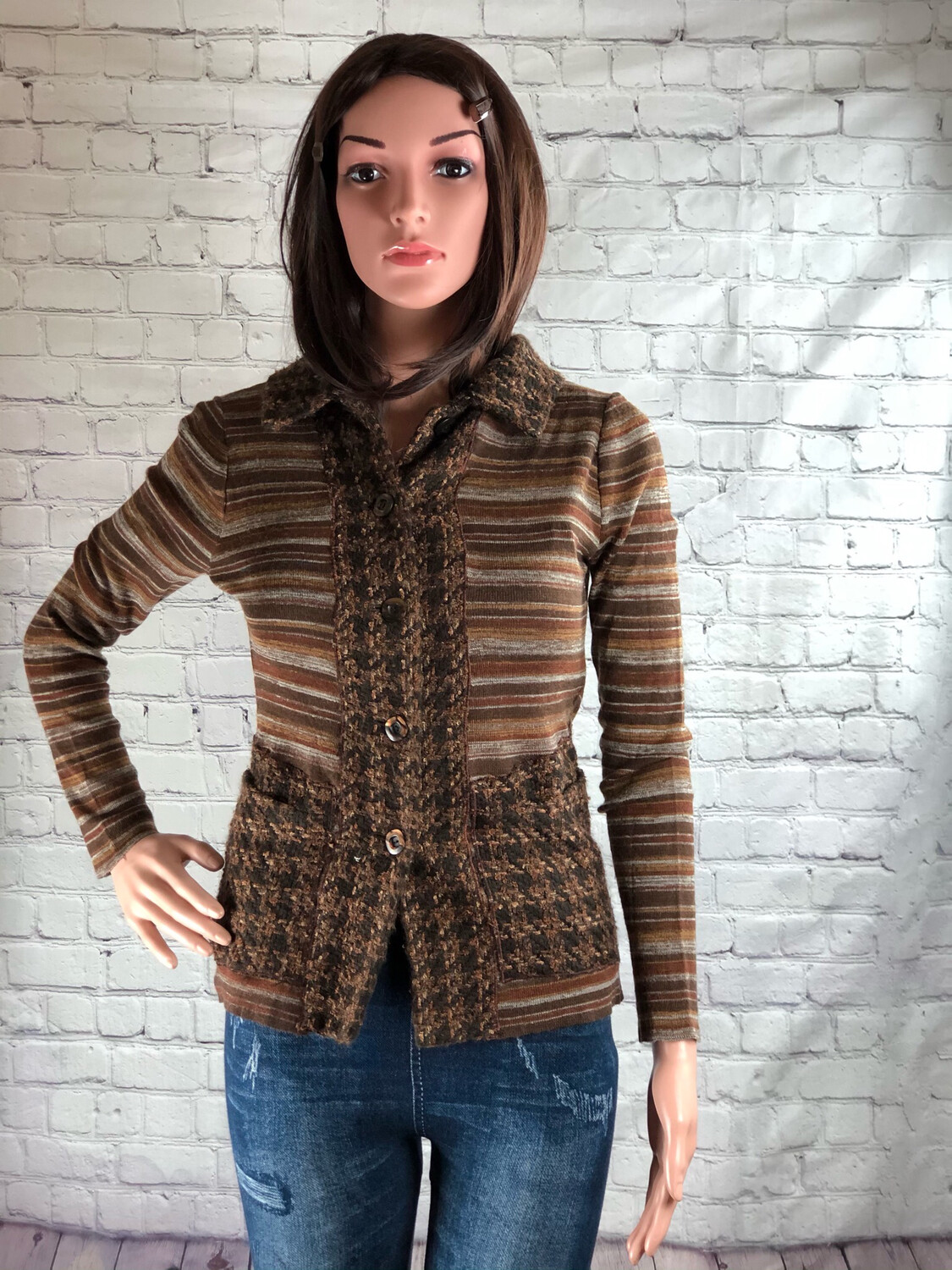 Retro Vintage Tweed Jacket Makeover Recycled Button Up Sweater Jacket Lightweight size S