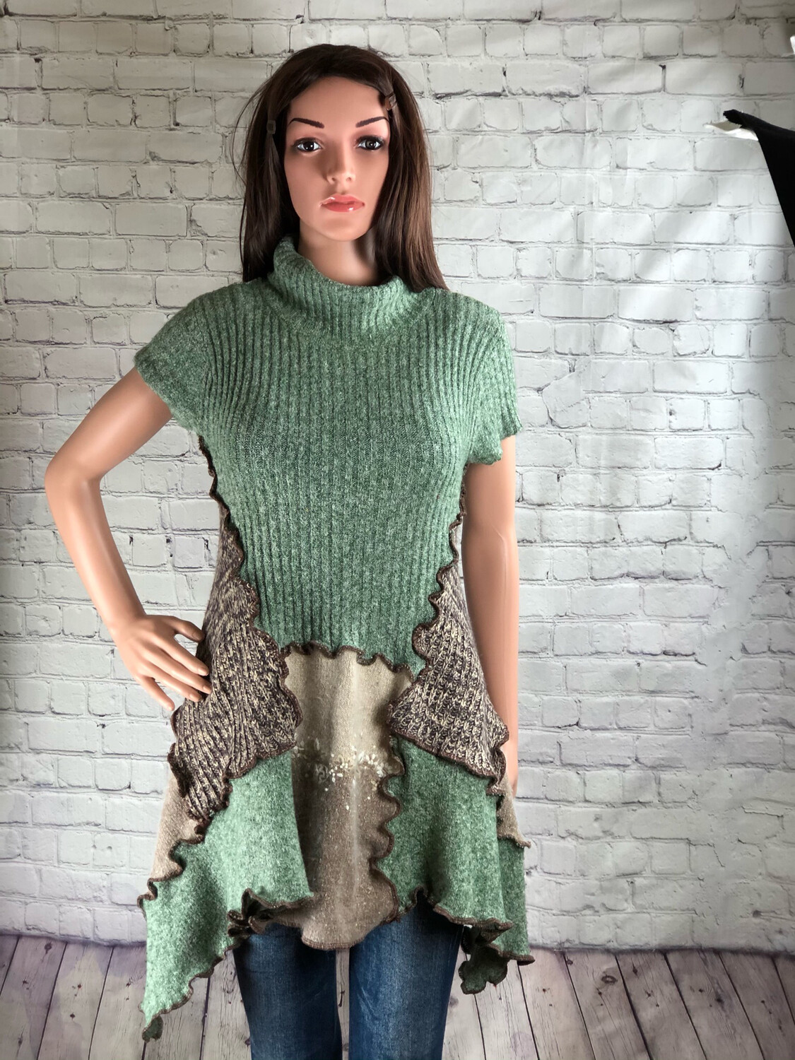 Upcycled Cowl Neck Sweater Tunic Patchwork Outside Stitch Mocha Green Angora Oversized Comfy Aline S Threads Size L