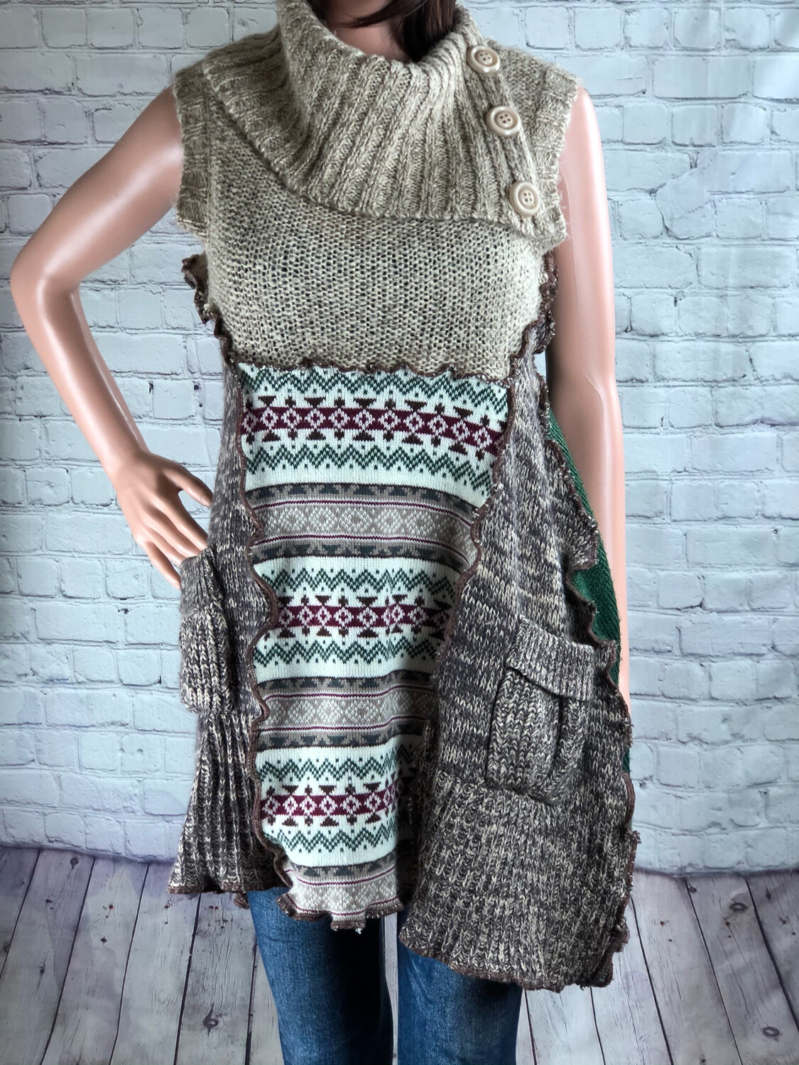 Upcycled Cowl Neck Sweater Tunic Patchwork Outside Stitch Brown Green Oversized Comfy Aline S Threads Size XL