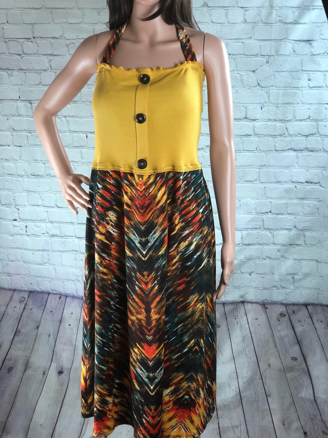 Eco Friendly Yellow Button Summer Dress Colorful Comfy Upcycled Recycled Fashion Halter Dress size M
