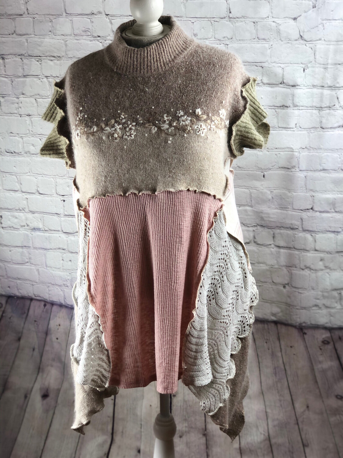 S Threads Upcycled Sweater Pink and Cream High Neck Patchwork Crochet Lace Silk Angora size 2XL
