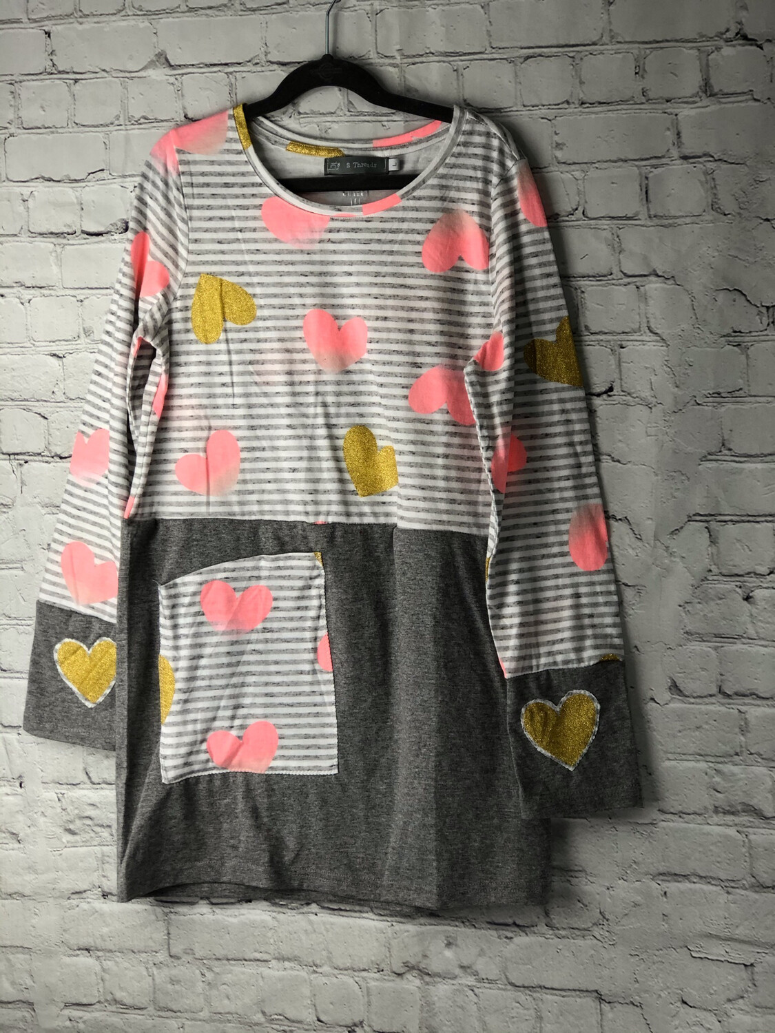 S Threads Kids Upcycled Repurposed Hearts Galore Long Sleeve Cotton Dress Size Child Large w Pocket