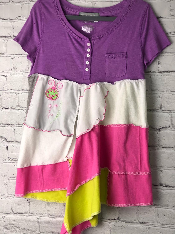 S Threads Boutique Kids Upcycled Aline Lagenlook Flare Dress Ladybug Size Medium