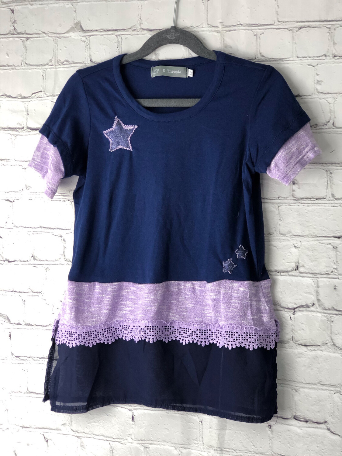 S Threads Kids Upcycled Short Sleeve Navy and Purple Lace Ruffle Shirt Size Child 5T