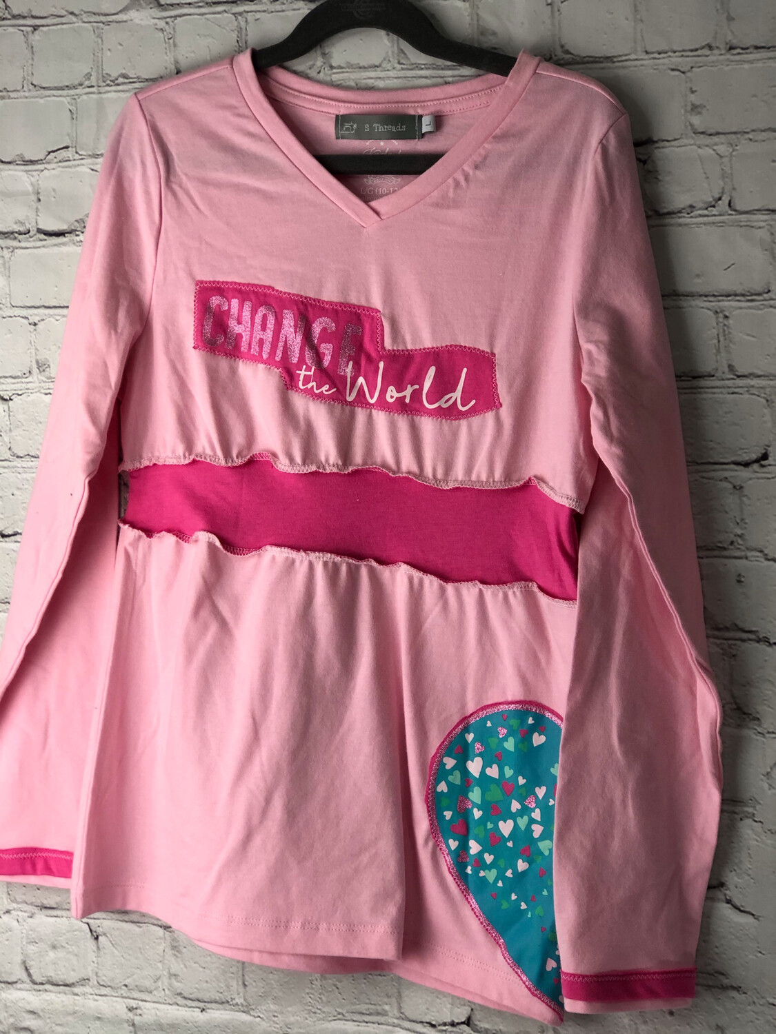 S Threads Kids Upcycled Repurposed Pink Heart Change The World Long Sleeve Cotton Dress Size Child Large