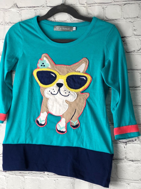 S Threads Kids Upcycled Long Sleeve Dog Wearing Sunglasses Shirt Size Child 5T