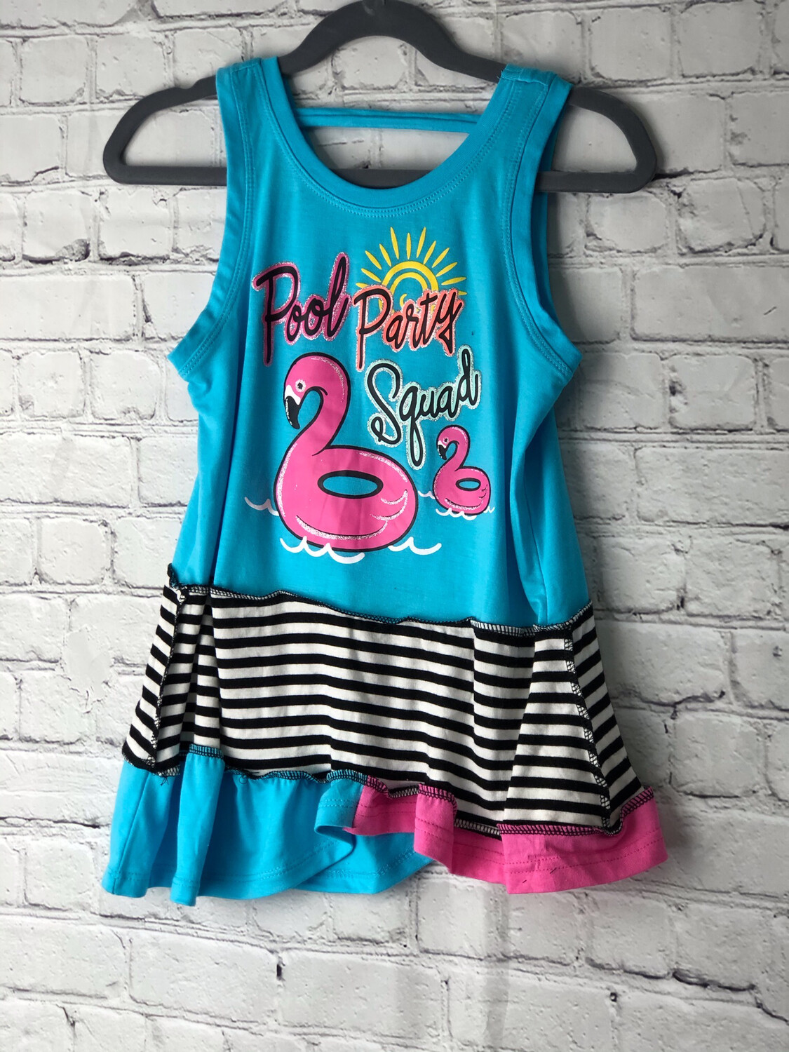 S Threads Kids Upcycled Repurposed Pool Party Dress OOAK Size Child 4T