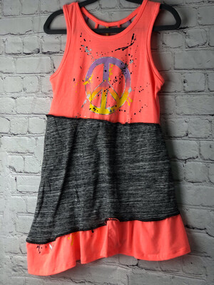 S Threads Kids Upcycled Repurposed Peace Sign Dress OOAK Size Child Small