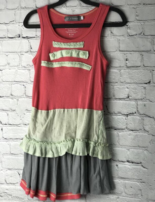 S Threads Kids Upcycle Repurposed Tangerine And Lime Tank Dress OOAK Size Child Small