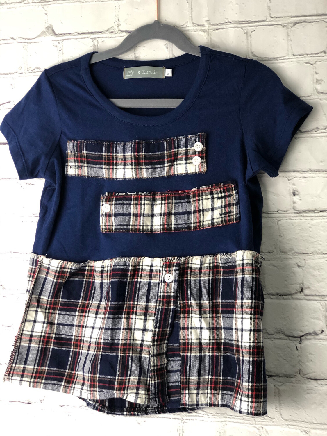 S Threads Kids Upcycled Short Sleeve Navy Plaid Shirt Size Child 5T