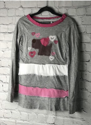 S Threads Kids Upcycled Repurposed Cotton Long Sleeve Scotty Dog Top OOAK Size Child 5T
