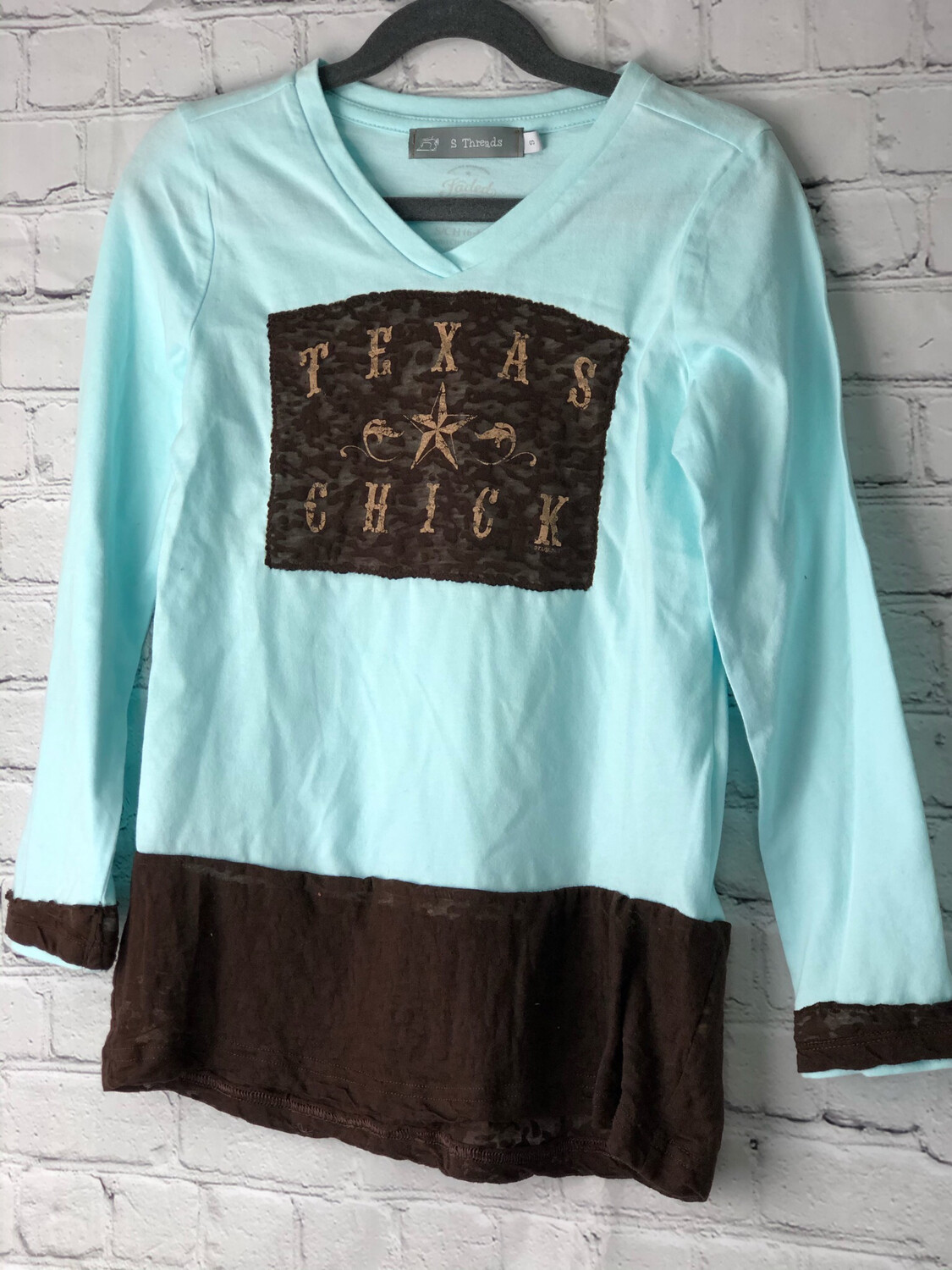 S Threads Kids Upcycled Long Sleeve Shirt Size Child Small Texas Chick