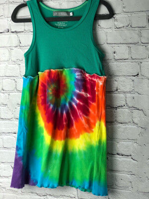 S Threads Kids Upcycled Repurposed Hippie Tie Dye Dress OOAK Size Child Small