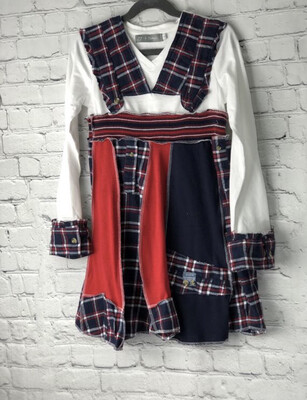 S Threads Boutique Upcycled Kids Flare Panel Plaid Dress w Ruffles Size Child Small