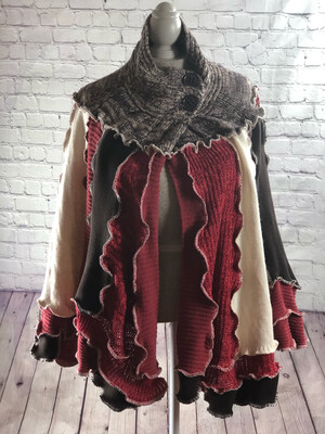 Recycled Sweater Shawl OOAK Katwise Inspired Button Collar OS