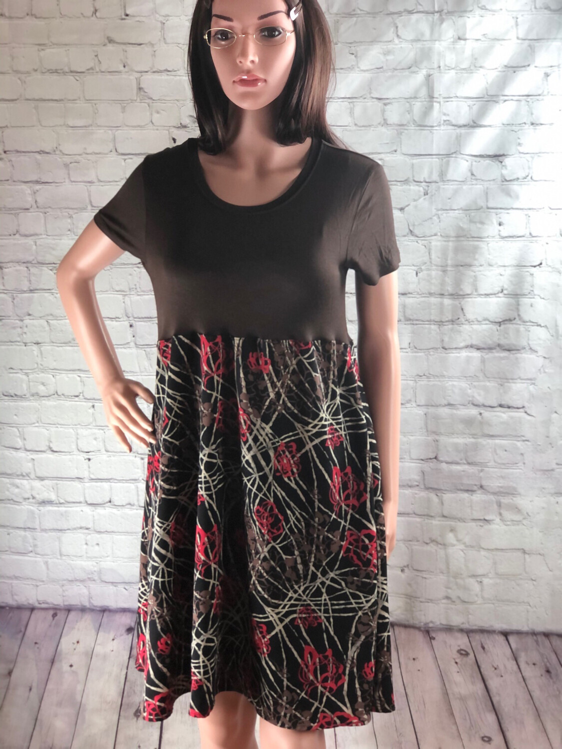 Upcycled Comfy Cotton Flare Brown Floral Short Sleeve Dress Size L